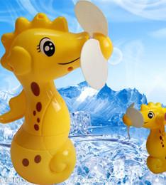 Wholesale mini spray fans - Cartoon Mini Sea Horse Water Spray Fan For children Eco-Friendly Portable Animal Fan Hand Held Fan Summer Water Spray Multi-function Tools