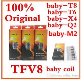 Wholesale Smok Tanks - 100% Authentic Smok TFV8 BABY Beast Tank Coils Head V8 Baby-T8 0.15ohm T6 0.2ohm X4 0.15ohm Q2 0.4ohm m2
