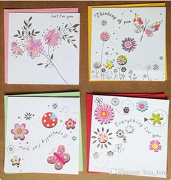 Wholesale Wholesale Greeting Card Envelopes - 2016 Rushed Postcard Postcards for Hollow Out Fine Greeting Card Flowers And Butterflies Birthday New Year 12 Christmas Thank You Envelope