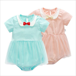 Wholesale Grils Shorts - Baby Rompers Grils Bowknot Summer Jumpsuits Kids Short Sleeve Tulle Skirt Romper Toddler Cotton Fashion Onesies Newborn New Coveralls L1