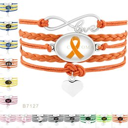 Wholesale Cancer Ribbon Charms For Bracelets - Infinity Love Hope Butterfly Cure Childhood Cancer Down Syndrome Awareness Heart Warrior Ribbon Bracelets for Womens & Mens Wrap Jewelry