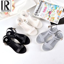 Wholesale White Shoes Jelly - 2017 summer new European and American new women's round head T character buckle jelly shoes plastic flat heel sandals