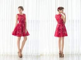 Wholesale Girls Sexy School Dress - Sexy Red Lace Short Women Cocktail Gowns Lady Big Girls Back to School Homecoming Prom Party Evening Mini Special Occasion Dresses