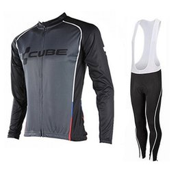 cube pro team Coupons - Pro Team cube Cycling Jerseys long sleeve mens autumn spring Cycling Clothing 100% Polyester Quick-Dry mtb bike shirt  bib pants D2402