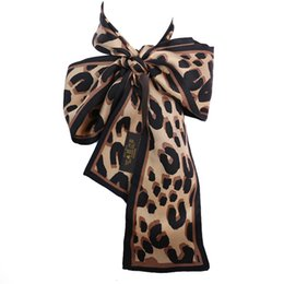 Wholesale Leopard Pashmina Scarf - Fashion Print Small Rectangle Scarf Leopard Print Headband Brand 100% Silk Scarves Female Can For Handbags