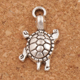 Wholesale Turtle Animals - Little Turtle Tortoise Animal Alloy Charms Pendants 23x12.2mm 100Pcs lot Antique Silver Jewelry DIY L1174 Hot