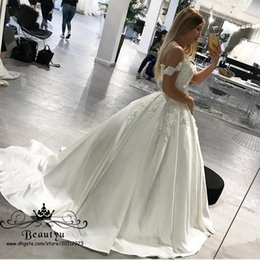 Wholesale Bridal Dress China Ball Gown - Elegant Off Shoulder White Satin Wedding Dresses From China Modest Lace Bodice Corset Long Country Bridal Gowns 2018 Arabic Vestido De Novia