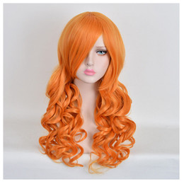 Wholesale Long Curly Red Orange Wig - Women's copper red Big messy Curly Pastel Orange Dye MERMAID hair Long Wigs WIG