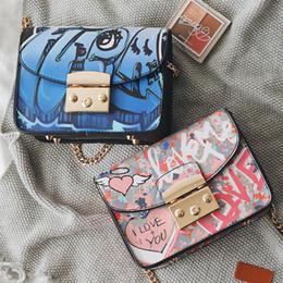 Wholesale Cover Phone Korean Style - designer graffiti bag female cartoon print messenger bags flap chain bag Korean style single shoulder crossbody Mini Bags brand