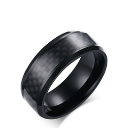 Wholesale carbon fiber ring wedding band - Meaeguet Trendy Men Jewelry Stainless Steel Rings Black Carbon Fiber Inlaid Engagement Wedding Men's Rings Fashion Band,8mm R-152