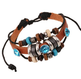 Wholesale Wholesale Color Wooden Beads - Exotic New Style Adjustable Bracelets Men Blue Zircon Wooden Beads Bracelet Boys Brown Color Leather Bracelet 10PCS