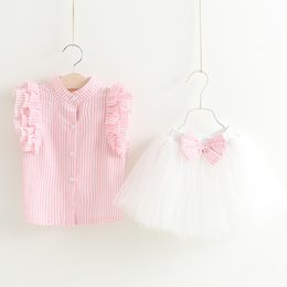 Wholesale Korean T Shirt Brands - 2017 baby girl summer clothes sets infant toddler girl fly sleeve T-shirt+bowknot tutu skirt children korean style clothing