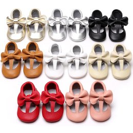Wholesale Toddler Girl Genuine Leather Sandals - 16 colors Toddler Girls Soft Sole Genuine Leather Sandals Baby First Walkers Shoes New Fashion Slip-on Prewalker Baby girls Shoes 0101140