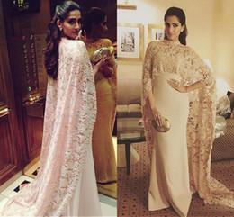 Wholesale Long Dresses For Muslims - Arabic Muslim Mermaid Evening Dresses for Women Wear with Cape Lace Party Elegant Floor Length Satin Long Dubai Kaftan Formal Gowns 2018