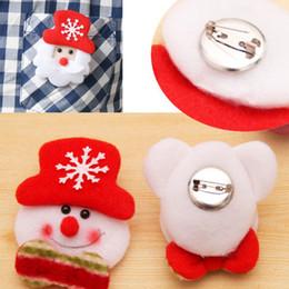 Wholesale Snowman Ornaments Sale - Best Sale Free Shipping Christmas Gift LED Glowing Santa Snowman Elk Bear Glow Flashing Cartoon Brooch Badge Toy Christmas Luminous Decorati