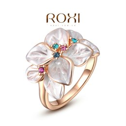 Wholesale Rose Plant Leaves - ROXI Summer Gift Classic Genuine Austrian Crystals leaves Rose Gold Plated Flower Ring Jewelry Party OFF