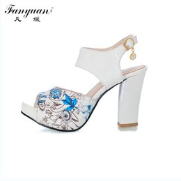 Wholesale Sexy Mixed Big Woman - Wholesale-2016 big Size 32-43 Fashion Square Heel sexy Ankle Strap Summer Mix-color Sandal Shoes For Women Sandal Hot Sale
