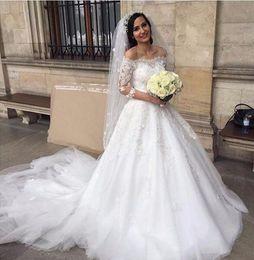 Wholesale Dresses Size Weding - Wedding Gowns Weding Bridal Bride Dresses Weddingdress robe de mariage Lace Wedding Dresses Off Shoulder Sequin A Line