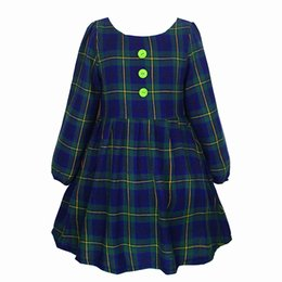 Wholesale Green Babies Organic Clothing - Hot Sale Cotton Lining Green Plaid Lantern Sleeve Ball Gown Kids Dresses For Girls Clothes 2-10 Years Baby Girl Dress Clothes