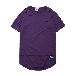 Wholesale Scallop Neck - Ripped Curved Hem Scallop Hemline Hip Hop T-shirt Short Sleeve 2017 Summer Solid Color Elongated Distressed Men's Tshirt Tee Shirts WL01SR