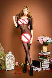 Wholesale Open Crotch Netting - sex Siamese netting fishnet stockings Siamese sleeve stockings piece netting tight open crotch sexy lingerie women body stocking