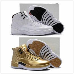 Wholesale High Quality Leather Shoes - (With Box) High Quality 12 Pinnacle Metallic Gold Sunrise Mens Basketball Shoes 12s Gold Sports Sneakers cheap XII Eur 40-47