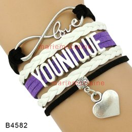 Wholesale Black Cuff Bracelet Leather - (10 Pieces Lot) Infinity Love Younique Heart Charm Wrap Bracelet Purple Black White Multilayer Leather Cuff Wrist Band Jewelry