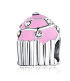 Wholesale Food Colouring Colours - Wholesale Fits Pandora Charm Bracelet Birthday Cake Pink Colour Enamel Crystal Silver Beads Loose Charms For Diy European Snake Charm Chain