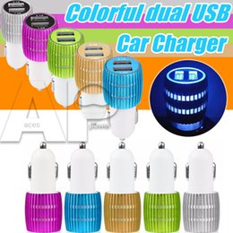 Wholesale Iphone Auto Charger - Aluminum Car Chargers Micro Auto Universal Dual 2 Port USB 1A For IPhone7 Plus IPad 2.1A 12V Mini Car Charger Adapteri