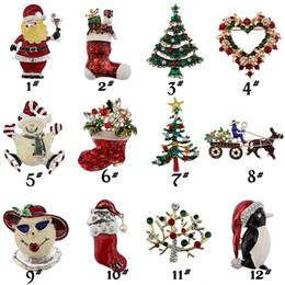 Wholesale Pearl Tree - Christmas Theme Brooch Pin Gift Beautiful Multi-colored Metal Christmas Brooch Pin Set Christmas Tree Brooches in Bulk B329S