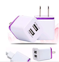 Wholesale Dual Wall Ac Charger Adapter - US plug Metal Dual USB Wall Chargers AC Adapter 5V 2.1A for Smart phone pad 5 color 1000PCS LOT