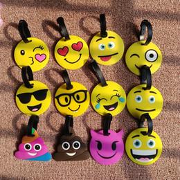 Wholesale Luggage Kids - Kawaii Emoji Smiley Suitcase Luggage Tag Cartoon PVC ID Address Holder Baggage Label Identifier Gift For Kids b1296