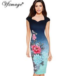 Wholesale pinup floral dress - Vfemage Womens Elegant Vintage Floral Print Charming Pinup Cap Sleeve Casual Party Evening Vestidos Pencil Sheath Dress 3013