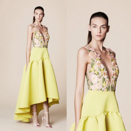 low plunging dresses Promo Codes - Tony Ward 2017 Yellow High Low Prom Dresses Flower Embroidery Sexy Plunging Neckline Evening Gowns A Line Formal Party Dress