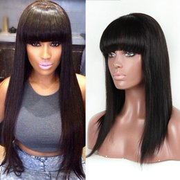 Wholesale Remy Hair Wigs Bangs - 100% Indian Remy Human Hair Front Lace Wigs With Full Bangs 150% Density