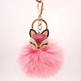 Wholesale Crystal Ball Ring Pink - Lovely Fox Fur Ball Fluffy Car Key Chains keyRings Crystal Cartoon Rhinestone keychain key ring Women bag pendant