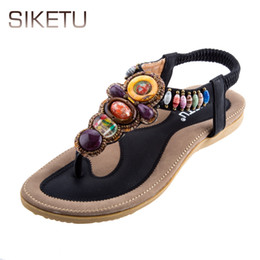 Wholesale Tpr Sole Sandals - SIKETU Brand Newest Summer Women Flat Sandals Hot Selling Bohemia Beaded Rubber Soft Sole Flip Flops with Straps Big Size Summer Ladies +B