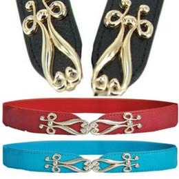 cinturón de corsé de oro Rebajas Al por mayor- Oioninos Fashion Women Thin Flower Gold Metal Buckle Elastic Stretch Corset Waist Belt