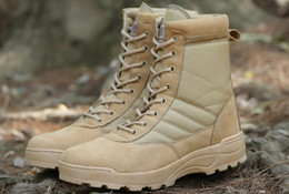 Wholesale High Boots Europe - Europe and the United States black leather boots tactical marines female mountain high waterproof help combat boots during the winter