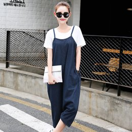 Wholesale Ladies Plus Size Overalls - Wholesale- 2017 women plus-size clothing solid color washed denim cross-pants overalls Rompers Lady fashion casual loose jean jumpsuits 337