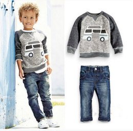Wholesale Boys Jean Sets - Caravan Grey Boys Clothes Sets Children Sweater Jean Clothing Set Autumn Spring Baby Boy Sweatshirts Trouser Jeans Outfit Cotton Tee Shirt