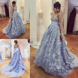 Wholesale big evening gowns - Dusty Blue Sweetheart Prom Dresses Sexy Bodice Exposed Boning Lace Appliques Evening Gowns With Big Bow Backless Sweep Train Arabic Dress