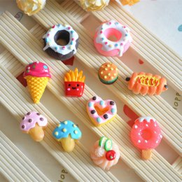 Wholesale Wholesale Cabochons For Hair Bows - 200pcs lot Kawaii Food Theme Flatback Resin Cabochons craft DIY for phone decoration hair bow Home Decoration