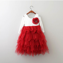 Wholesale Lace Maxi Wholesale - 2017 Spring Autumn New Girls Princess Dresses Lace Flower Tiered Tulle Maxi Dress Long Sleeve For Wedding Party Children Clothes 1-9Y E17104