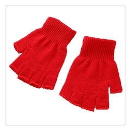 Wholesale Fingerless Climbing Gloves - Outdoor Finger Gloves Unisex Plain Basic Hot Fingerless Winter Knitted Gloves Warm Finger Cover Fingerless Gloves For Climbing Free DHL
