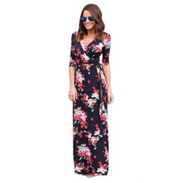 Wholesale Womens Work Out Shorts - Wholesale- Womens Summer Long Beach Dresses Boho Sexy VNeck Evening Party bohemian summer style women Maxi Dress Floral Sundress vestidos