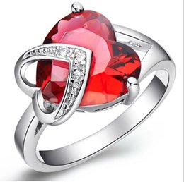 Wholesale Tension Lover - Fashion Big Heart Solitaire Rings Silver Plated Red Purple Crystal Heart Shaped Cocktail Rings Radiation Protection Lover Gift Female