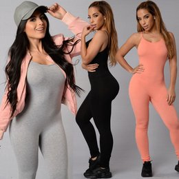 Wholesale Pink Offers - Wholesale- 2017 Special Offer Hot Sale New Fashion Womens Long Black Pink Jumpsuit Sexy Bust Deep O Neck rompers women Bodycon jumpsuit