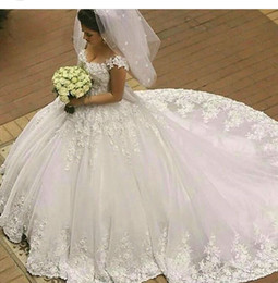 Wholesale Simple Low Back Wedding Dress - 2016 Vintage Off the Shoulder Wedding Dress Sexy Ivory Lace Applique A Line Low Back Puffy Tulle Corset Chapel Bridal Gowns Free Shipping