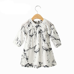 Wholesale cartoon lanterns - Hot High Quality Fawn Cartoon Printed Skirt Pleated Dress for Kids Girl White Cotton One-piece Dress
